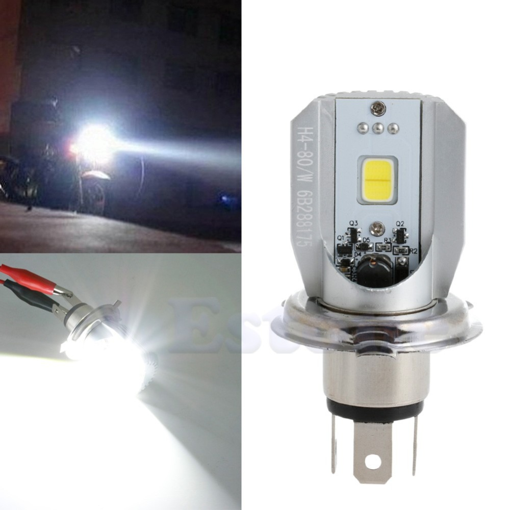 1Pc COB H4 LED Hi/Lo Beam Motorcycle Headlight Front Light Bulb Lamp White 10166