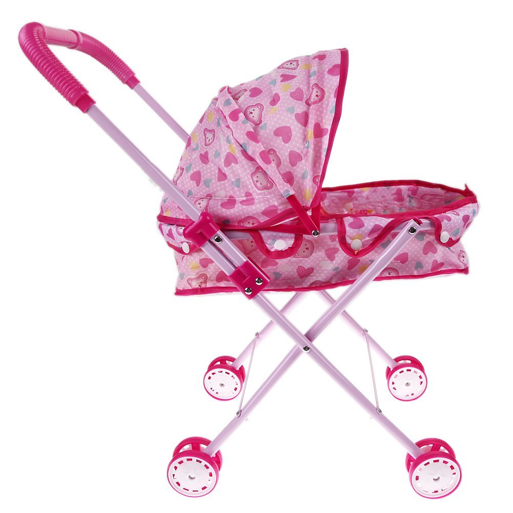 Toy driven wheelbarrow Folding type tool Shopping strollers Leisure playing Playing over 3 years (pink and white)