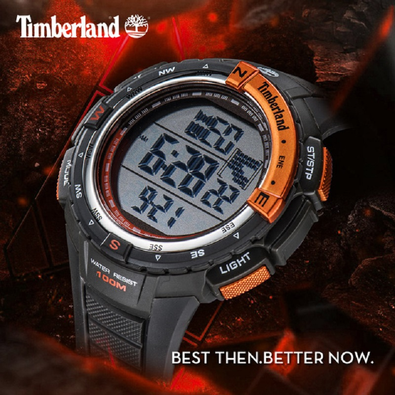 Timberland Original Mens Watches Digital Sport 100M Waterproof Silicone Strap Red Calendar Chronograph Week Men Watches