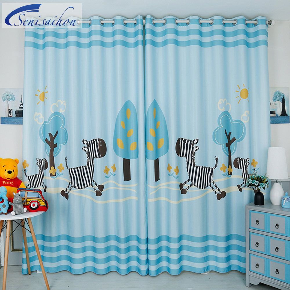 Light teal curtains - New 3d Blackout Curtains Cartoon Blue Small Horse Pattern Tulle Curtains Custom Children S Curtain For Window Living Room