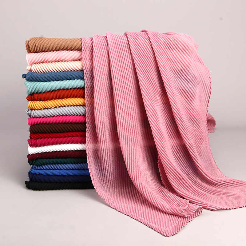 2019 women plain cotton scarf Head hijab wrap solid full cover-up shawls foulard femme headband crinkle muslim hijabs store