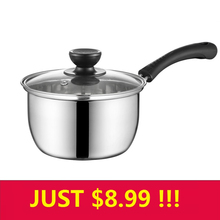 16/18/20cm Thick Stainless Steel Cooking Soup Milk Pot Nonstick Pan Small Saucepan With Glass Lid For Induction Cooker Gas Stove