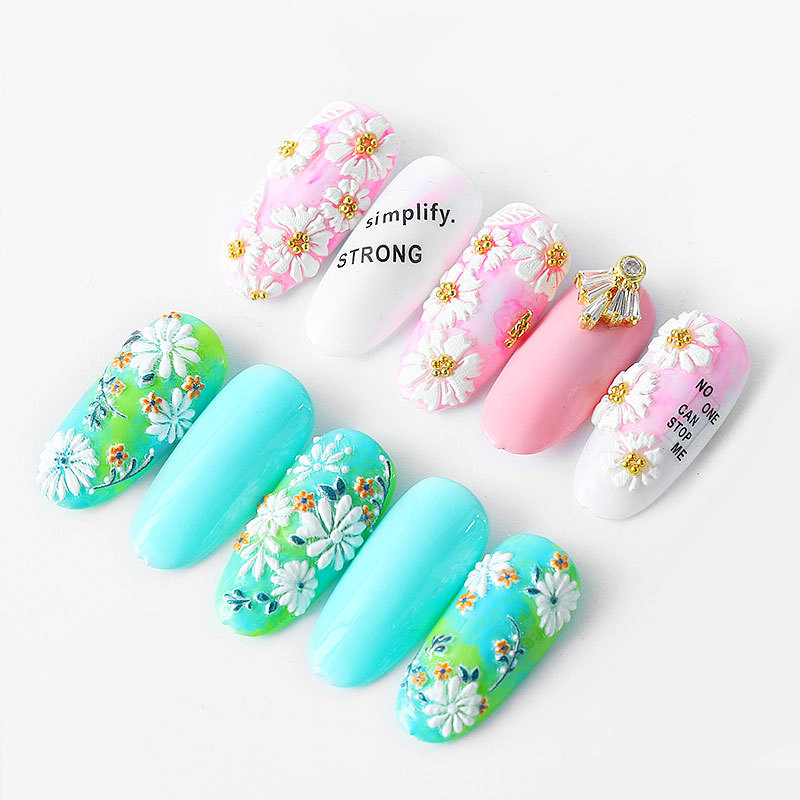 Image 2 - 5D Acrylic Engraved nail art sticker colorful  flowers leaves Template Decals Tool DIY Nail Decoration Tools Z0133-in Stickers & Decals from Beauty & Health