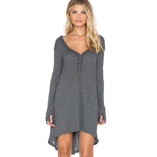 Moda Autunno Inverno Vestito Delle Donne Donne Abbigliamento Casual Maniche  Lunghe Sciolto Profondo Sexy-v 002a2bd00c9