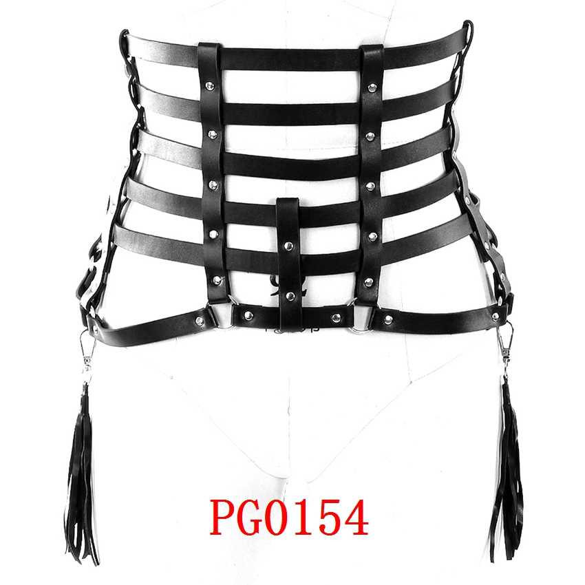 a57ef477ca1 ... Leather Body Harness Garter Belt for Women Sexy Leg Bondage Lingerie  Punk Goth Strappy Cage Pink ...