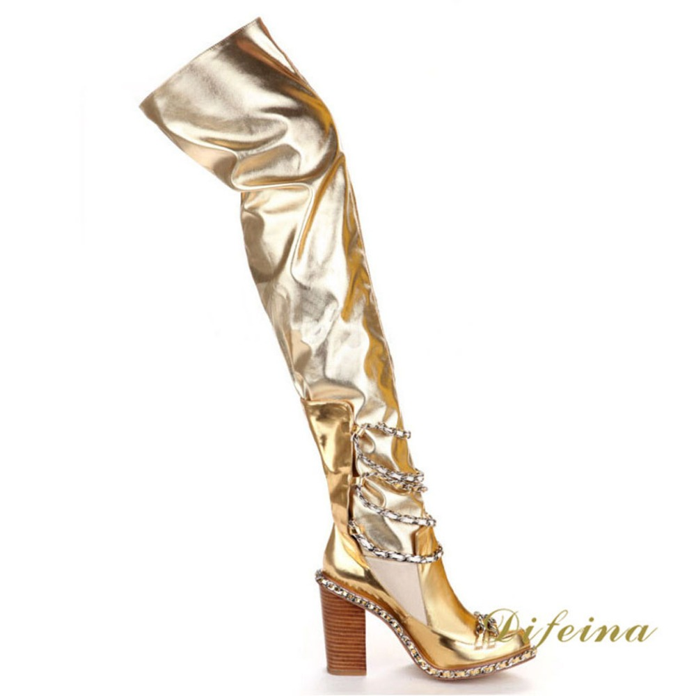 Aliexpress.com : Buy Night Club Over The Knee Boots Gold Cowhide ...