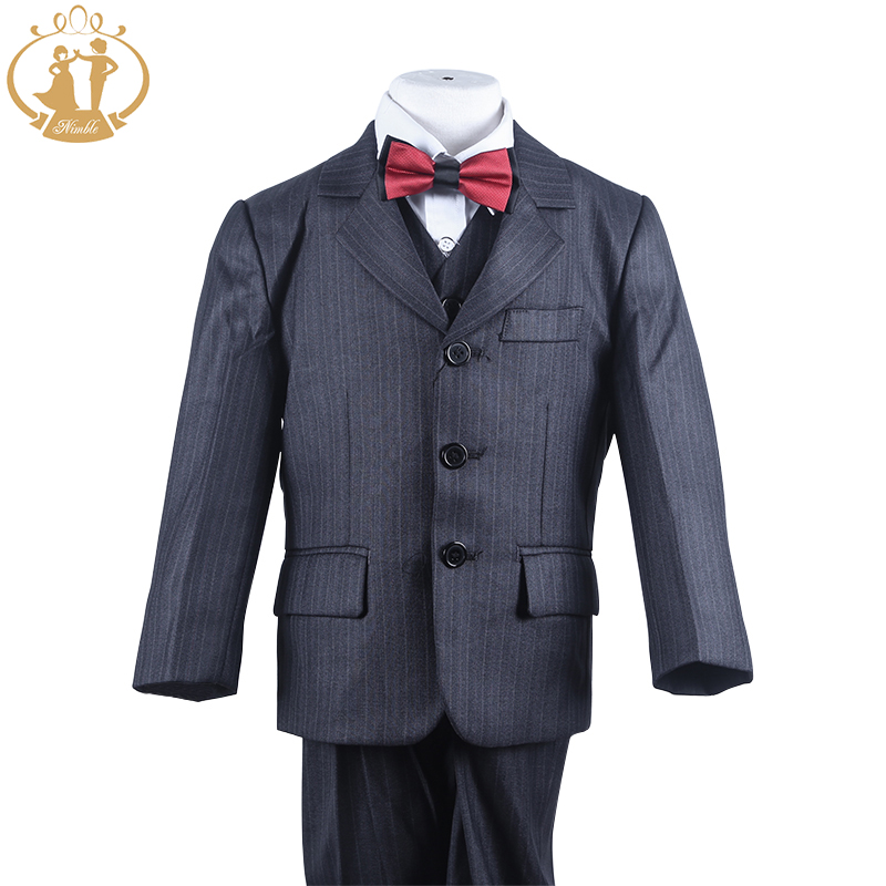 Nimble suit for boy Polyester Single Breasted Boys Pinstripe Suit boys suits for weddings roupas infantis menino jogging garcon single breasted knot blouse