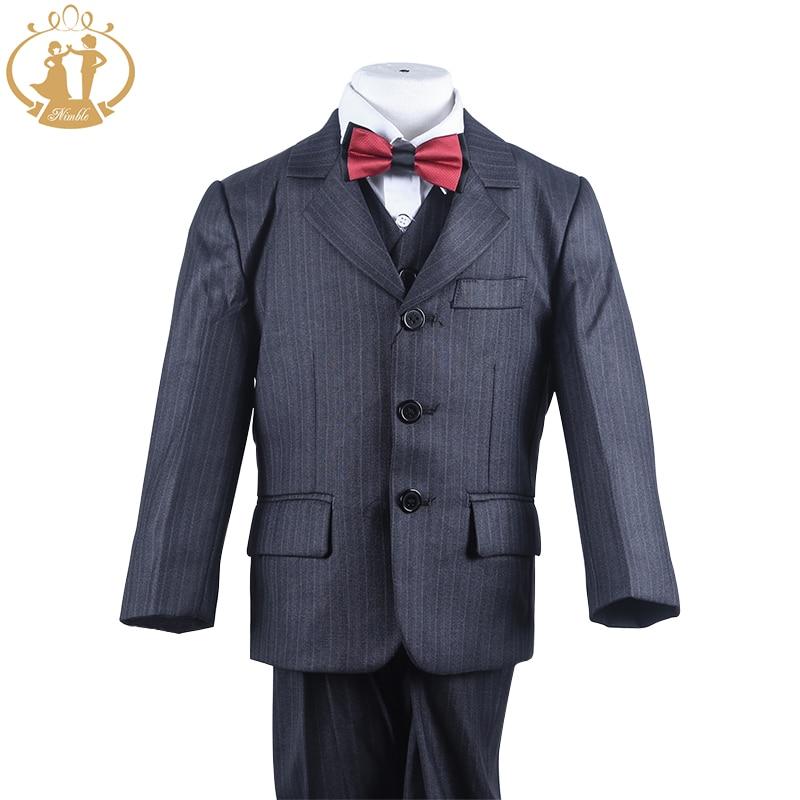 Soepele pak voor jongen Polyester Single Breasted Jongens Pinstripe - Kinderkleding