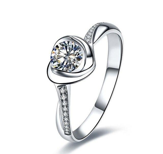 Fabulous Design Heart Shape 0 5CT Female Sterling White Gold 18K