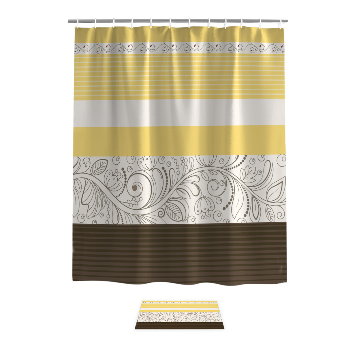 Us 14 27 26 Off Vintage Flower Pattern Yellow Shower Curtain Bath Sets With Rugs Bathroom Decor Set Waterproof Outside Modern Rings House Women In
