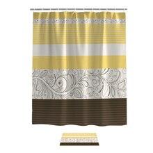 Conjuntos de baño de cortina de ducha amarilla con diseño de flores Vintage con alfombras decoración de baño conjunto impermeable exterior anillos modernos para mujer