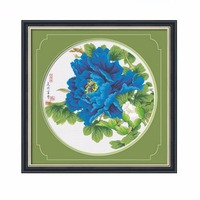 SewCrane Stamped Cross Stitch Kit, Blooming Blue Peony, 24.4 x 23.6 inches