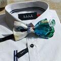 Nueva manera Libre del envío 2016 de Los Hombres ocasionales masculinos serie de plumas de Pavo Real hecho a mano pajarita wedding party Europa Occidental promoción