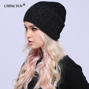 Image 2 - Зимние вязаные шапки CHING YUN 2018, теплые шапки для женщин, кашемировая вязаная шапка, Женская шерстяная пушистая подкладка, Посеребренная пряжа