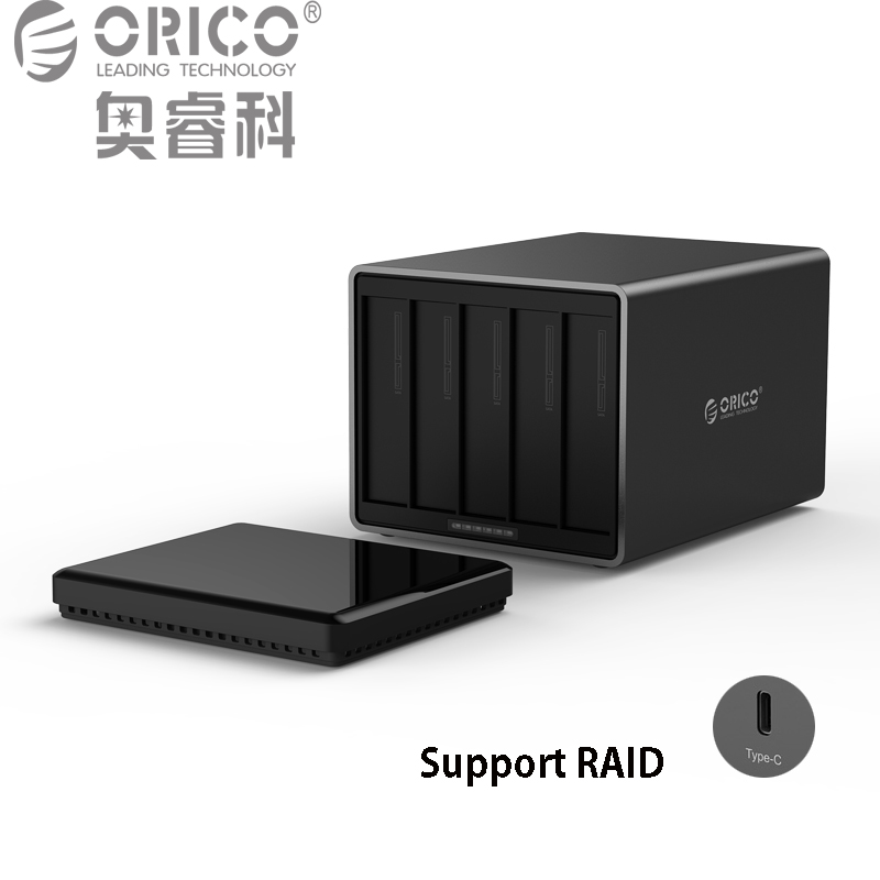 ORICO Tool Free Type-C to SATA 5-Bay 5Gbps RAID Hard Drive Docking Station with 12V 6.5A Power Adapter Support UASP HDD Case orico 9528u3 2 bay usb3 0 sata hdd hard drive disk enclosure 5gbps superspeed aluminum 3 5 case external box tool free storage