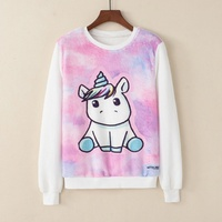 KaiTingu Women Fashion Hoodies Sweatshirt Casual Long Sleeve White Pullover Harajuku Cute Unicorn Print For Autumn