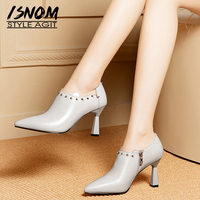 ISNOM Cow Leather Pumps Women Pointed Toe Footwear Fashion Pvc Unusual Heels High Shoes Female Office Stud Shoes Woman 2019