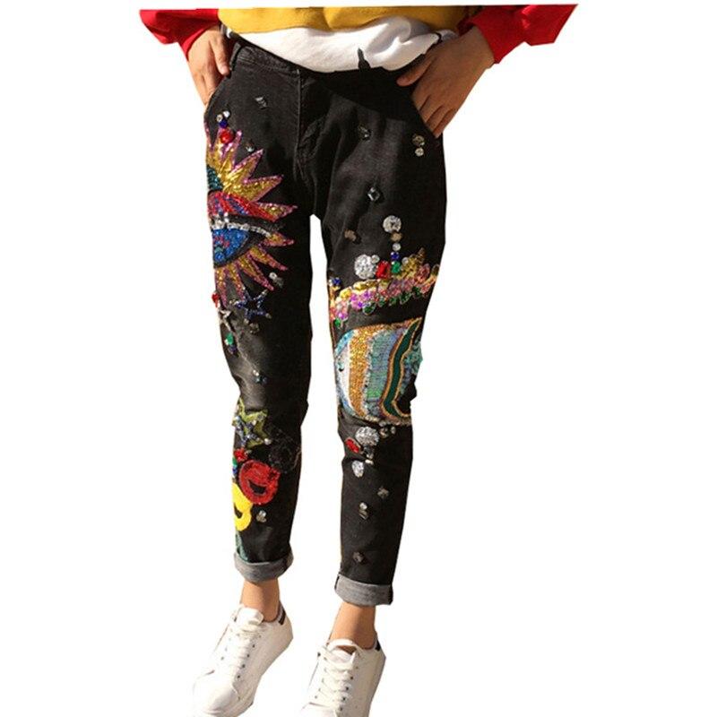 182 Patrón Jeans Lentejuelas Para Abalorios Mujeres Mezclilla Niñas Bikini Mujer Skinny Lápiz Pantalones Casual Vaqueros De qZAOZw4R