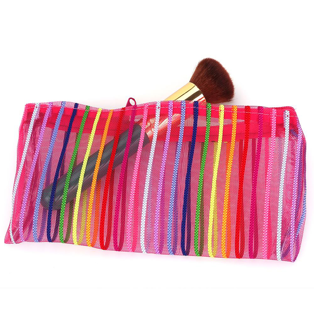 2019 New Portable Large Capacity Cosmetics Storage Bag Colorized Stripes Pattern Transparent Waterproof Nylon Makeup Bag #1121