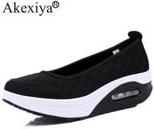 Akexiya Women Flats Platform Sport Wedge Sneakers Mesh Breathable Ladies Running Shoes Nurse Teacher Work Walking Shoes Woman