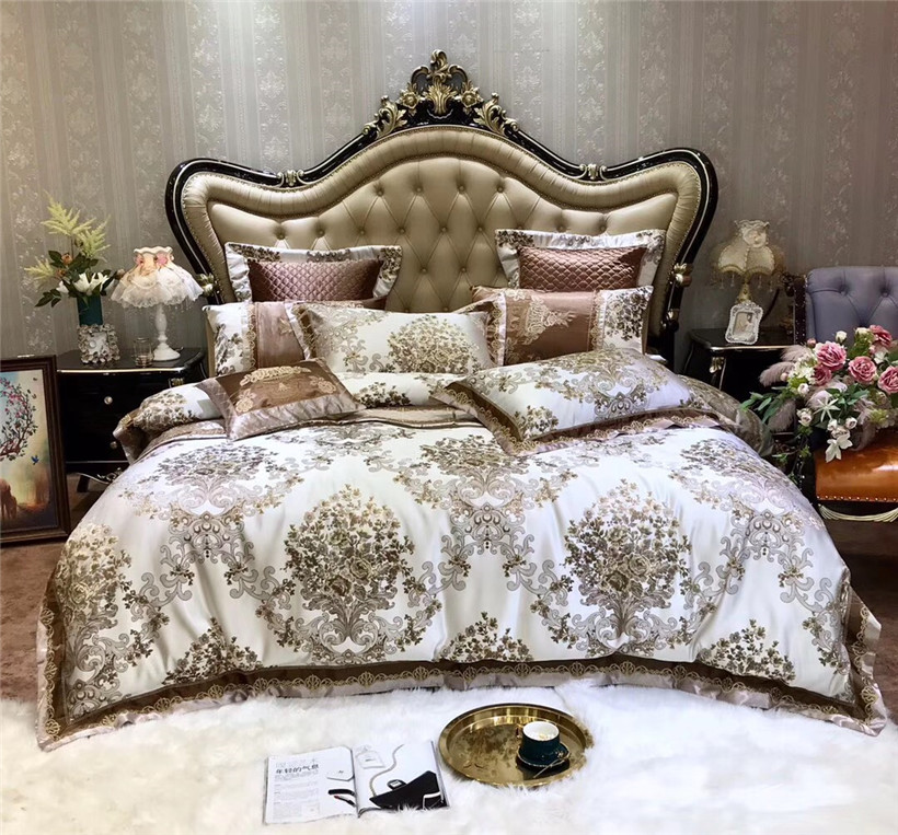 4/6/10Pcs Luxury Premium Floral Jacquard Bedding Set Queen King Size Satin Like Silk And Cotton Duvet Cover Flat Sheet Bedspread