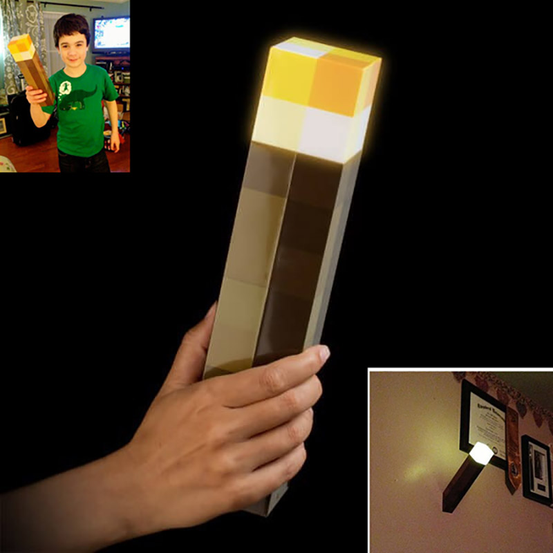 1 pieza minunid ecraft figura de acción Original Light Up Minecraft antorcha LED lámpara de plástico de mano o montaje en pared de regalo de noche juguetes # E
