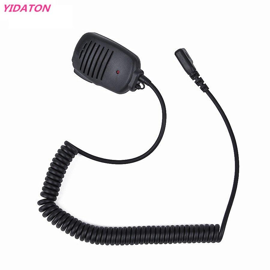 New 2 PIN Handheld PTT Speaker Mic Microphone For IC V8 F21 F11 V82 V85 F26 Radios 10mm With 3.5mm Earphone Plug Walkie Talkie