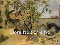 Oil Painting Reproduction on Linen canvas,Garten in der Rue Carcel by paul gauguin,100% handmade oil painting,free dhl shipping