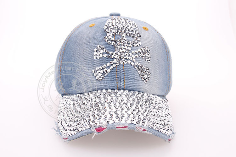 2014 new arrival Diamond Point Skull rivet cowboy denim caps women baseball cap men Hats rhinestone print 5 pcs/lot