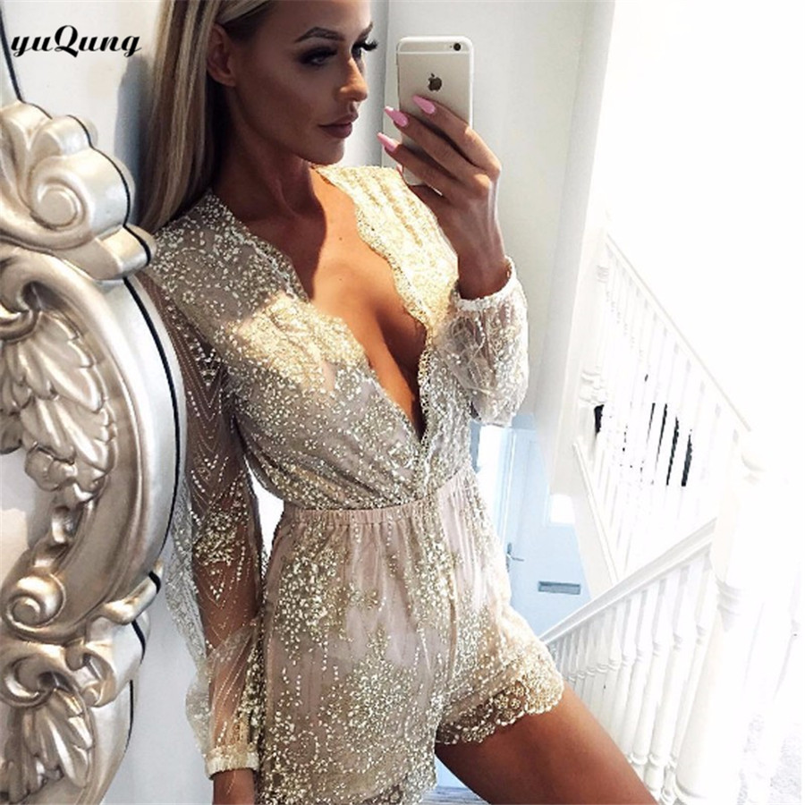 yuqung gold Sequins Jumpsuit Rompers Women Mesh Long Sleeve v neck Sexy short playsuit party club Overalls I69