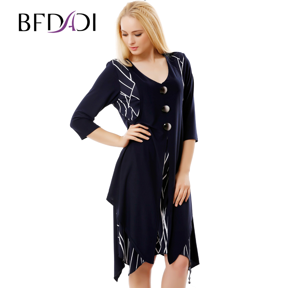 BFDADI New Arrival 2016 Women Retro Casual Loose A-Line Dress 3/4 Sleeved Splicing Irregular hem Big size dress xl-6xl 7-3580