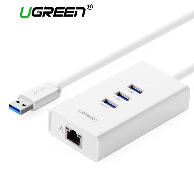 Ugreen USB 3.0 Gigabit Ethernet with HUB USB to RJ45 Lan Adapter 100Mbps for Windows MacBook USB Network Card Ethernet Adapter 3 ports usb 3 0 hub type c thunderbolt 3 to rj45 100mbps gigabit ethernet lan adapter data type c wired network card for macbook