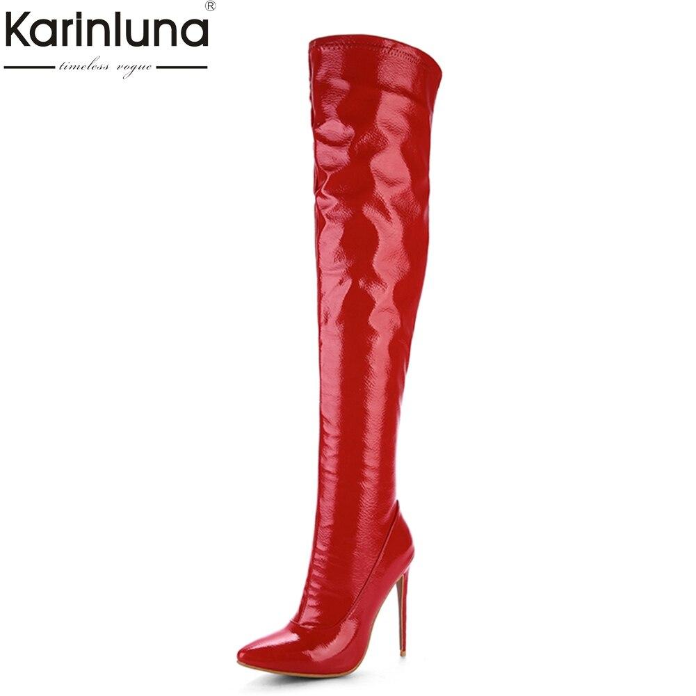 KARINLUNA Brand new Plus Size 33-48 Pointed Toe Women Shoes Sexy Thin High Heel Party Wedding Shoe Winter Long Boots woman кабельный щит brand new f98 85 58 33 sbd7781