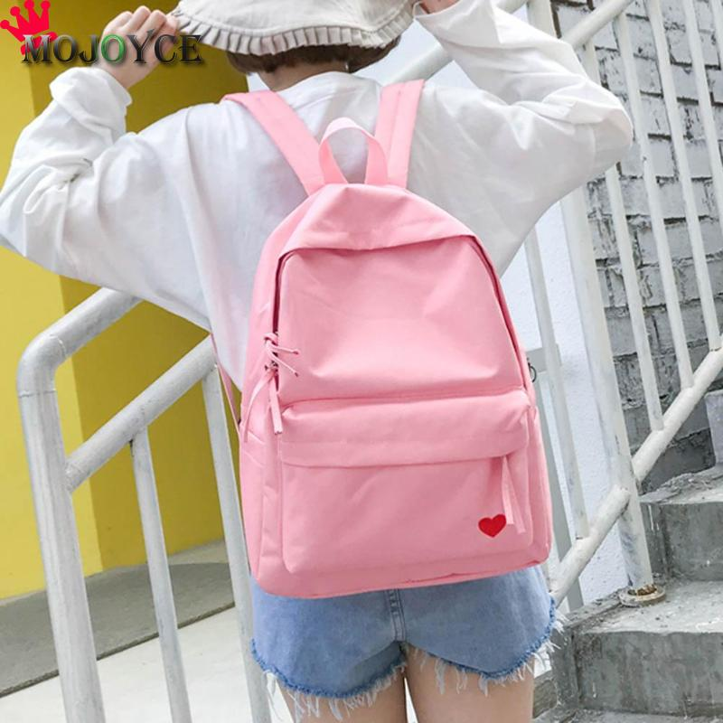 2018 New Fashion Cute Heart Women Backpack Teenager Girl Travel Shoulder Bag School Rucksack Candy Color Heart Nylon Rucksack