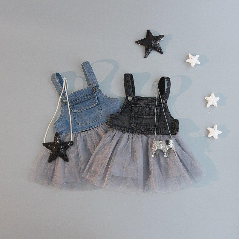 d7d9c50401 2016 baby child girl summer Denim Overalls Tutu frilly tutu dress girls  clothing Free shipping 1-2 years