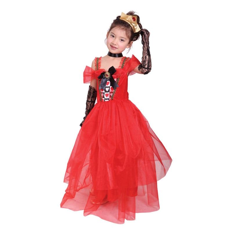 Heart Princess Costume Red Yarn Dress Girls Queen Child Carnival ...