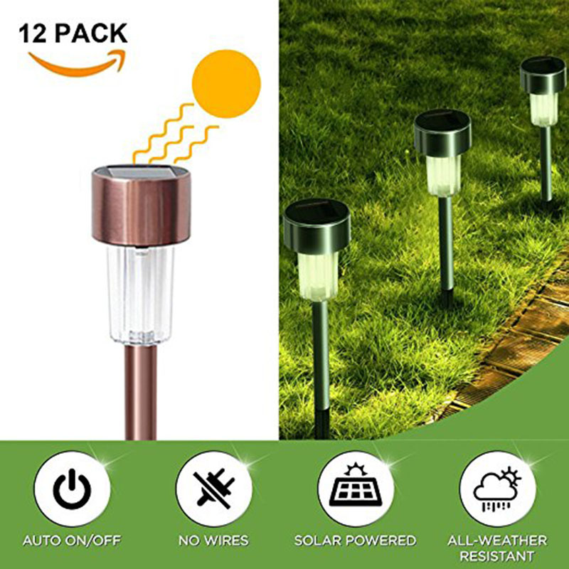 Solar Pathway Lights Outdoor Sunwind 12-Pack Stainless Steel Led Garden Lights For Lawn,Patio,Yard,Walkway,Driveway