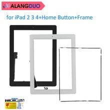 Alangduo для Ipad 2/3/4 планшет сенсорный экран планшета стеклянная панель Замена сенсорный датчик объектив с Home Кнопка + рамка