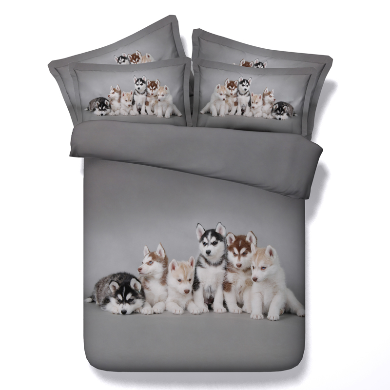 Aliexpress.com : Buy 3d Husky Dog Bedding Set Grey Bed Linens 3/4 Pc  Comforter Cover Queen King Twin Single Sizes Adult Boys Animals Print  Bedspreads From ...