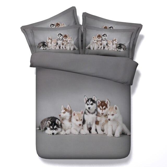 3d Husky Dog Bedding Set Grey Bed Linens 34 Pc Comforter Cover