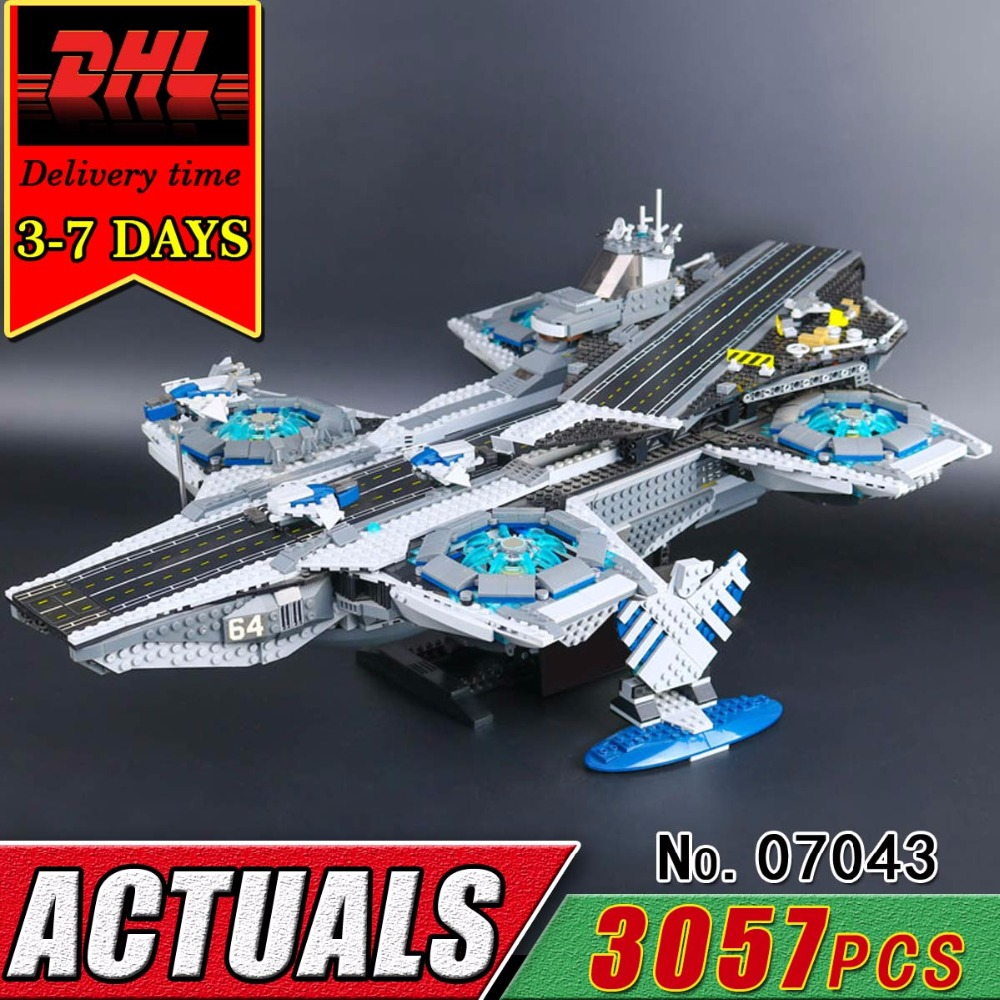 DHL LEPIN 07043 Super Heroes The Shield Helicarrier Model Building Blocks Military War Compatible 76042 Bricks Kit Toy Children protective outdoor war game military skull half face shield mask black