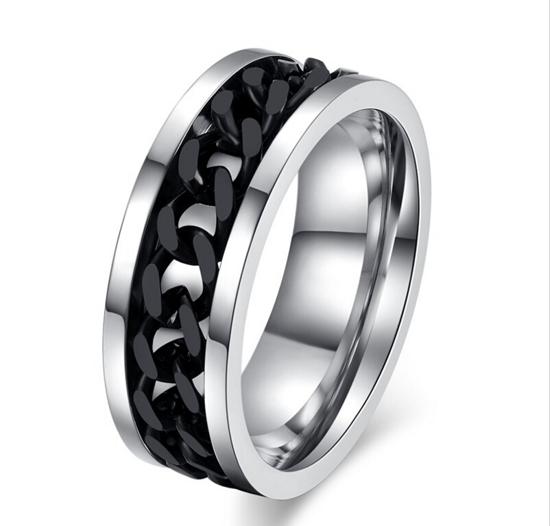 fashion black chain ring for stainless steel wedding