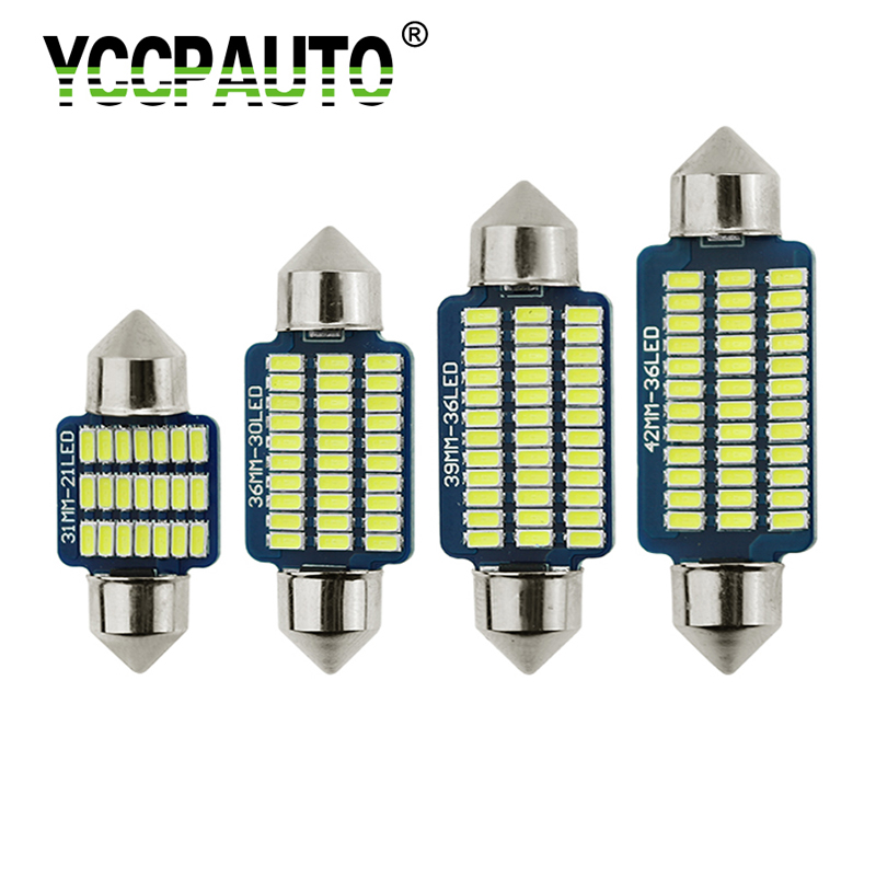 YCCPAUTO 10Pcs C5W <font><b>LED</b></font> Festoon 31mm 36mm 39mm <font><b>42mm</b></font> <font><b>LED</b></font> <font><b>Bulbs</b></font> 3014 SMD 12V Car Interior Reading Light Dome Lamp White 6000K image
