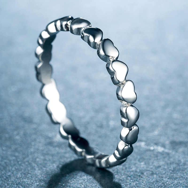 FENGLI เงิน 925 หัวใจครอบครัวแหวนผู้หญิง 2mm แหวนเงินเครื่องประดับโบฮีเมีย
