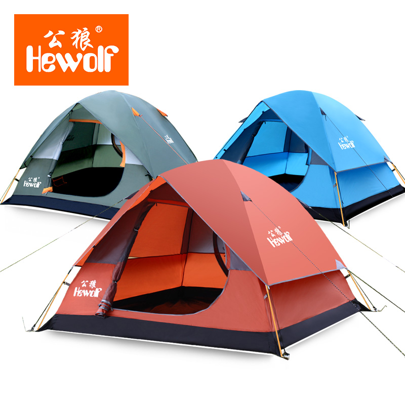Hewolf Waterproof Double Layer 3-4 person Outdoor Camping Tent Hiking Beach Tent Tourist bedroom travel 2017 china barraca tenda promotion 6pcs baby cot crib bedding set cartoon animal baby crib set quilt bumper sheet skirt bumpers sheet pillow cover