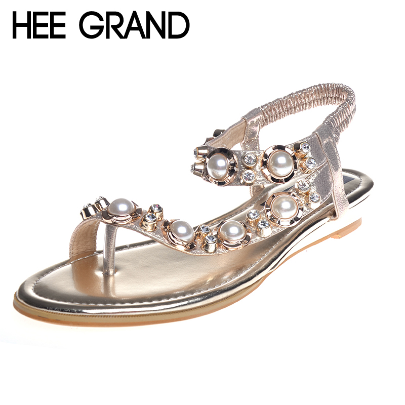 HEE GRAND Brand Rhinestone Woman Roman Sandals Flat With Summer Shoes Beach Bohemia Beading Elastic Band Flip Flops XWZ2035 hee grand soft transparent jelly women sandals flat with crystal colorful rhinestones butterfly knot beach shoes xwz3446