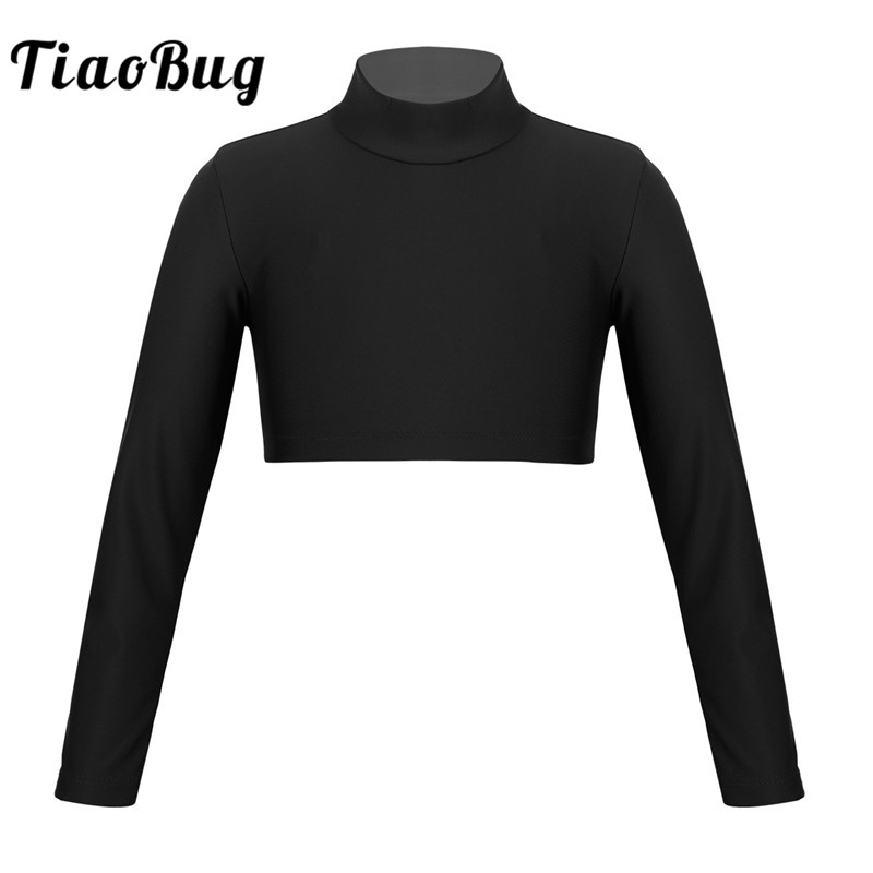 TiaoBug Kids Teens Solid Color Long Sleeve Crop Top For Girls Ballet Jazz Dance Stage Performance Workout Gymnastics Dance Wear