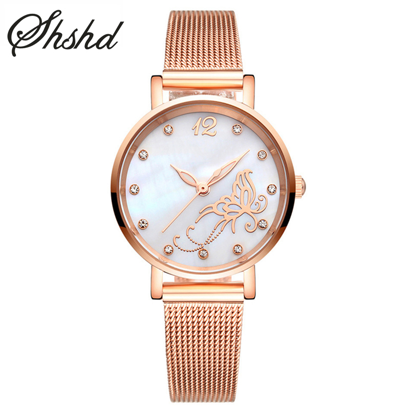 ФОТО Luxury Brand Women Watches Ladies Dress Watch Luminous Clock Fashion Stainless Steel Mesh Strap Rose Gold Bracelet Reloj Mujer