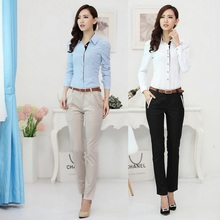 New 2017 Autumn Formal Women Business Suits with Pant and Shirt Sets OL Ladies Clothing Sets Office Uniform Design for Work