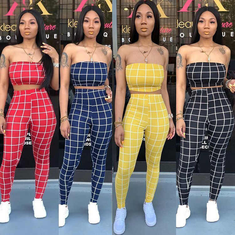 2019 women sexy Sleeveless Two Pieces Set casual bodycon Strapless Printed Plaid pencil Summer skinny pants tracksuit TS940